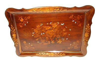 Dutch Antique VICTORIAN Marquetry & Mother of Pearl Inlaid Rosewood Tray