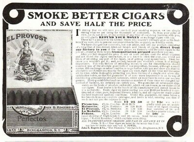 Antique Ad Smoke Better Cigars save half Price John R Rogers Binghamton NY