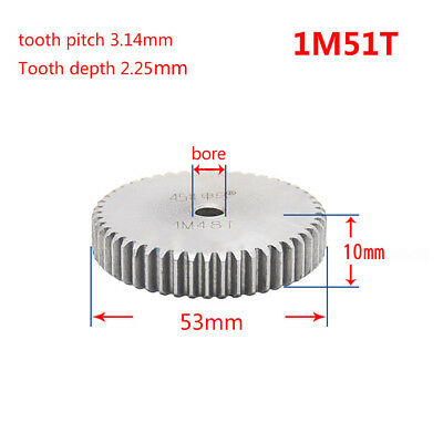 1 Mod 51T Spur Gear Steel Motor Pinion Gear Thickness 10mm Outer Dia 53mm x 1Pcs