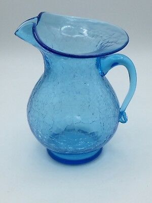 "VINTAGE 60s COBALT BLUE CRACKLE GLASS PITCHER -6"" TALL- HAND BLOWN-SUPERB COLOR!"