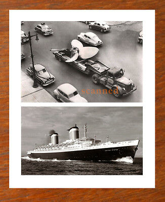 RARE 1950s SS UNITED STATES Ship +  PROPELLOR LARGE PHOTO Philadelphia Philly