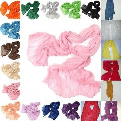 Chic Womens Long Crinkle Voile Soft Scarf Wrap Shawl Stole Candy 21 Colors Vogue