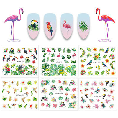 10 Sheets LEMOOC Flamingo Flower Nail Water Decals Manicure Transfer Stickers