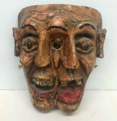 Vintage Hand Carved Wood Mask Two Faces