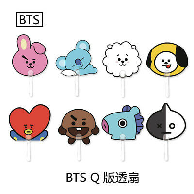 Kpop BTS BT21 Fan Bangtan Boys Mini Hand Fan Transparent Portable COOKY SHOOKY