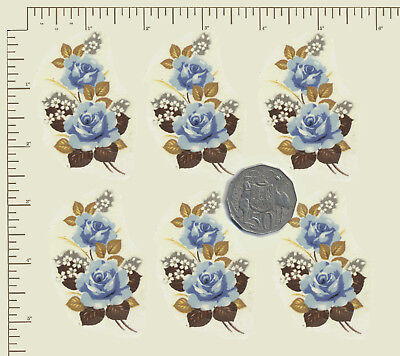 """6 x Waterslide ceramic decals Blue roses floral spray 2 3/4"""" x 1 5/8""""  A26"""
