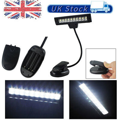 10 LED Eye Care USB Stand Light Clip On Bed Music Reading Book Lamps Black