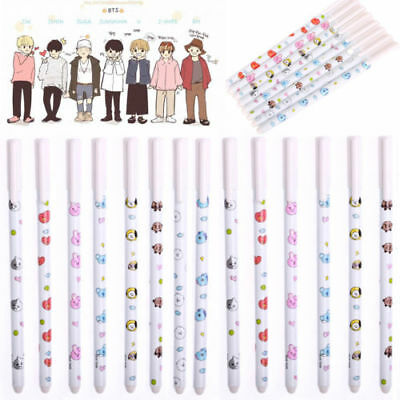 Kpop BTS BT21 Cartoon Ballpoint Gel Pen TATA Pencil Stationary Student Supplies