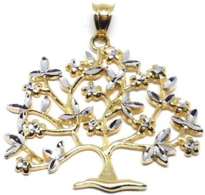 GOLD 14k tree of Life pendant family charm necklace Yellow White 2.4g 1.35""