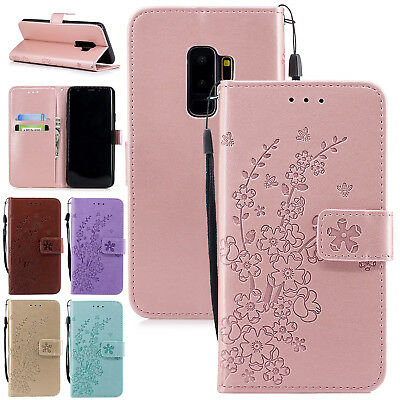 For Samsung Galaxy S7 Edge S8 S9 Case Floral Leather Flip Card Slot Wallet Cover