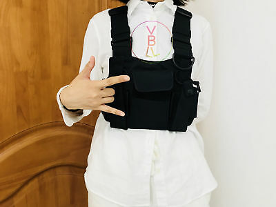 Tactical Vest Adjustable Chest Pouch Rig for Motorola Kenwood Portable Radio