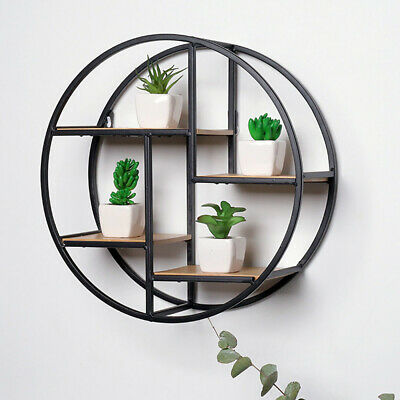 Vintage Round Wall Unit Retro Wood Industrial Style Metal Shelf Rack Storage