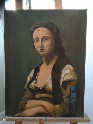 Original Oil painting on Canvas ~ Antique Mona Lisa style ~ Signed Portrait