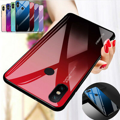 Gradient Tempered Glass Back Case Cover For Xiaomi Redmi 5 Plus 6A Note 6 Pro