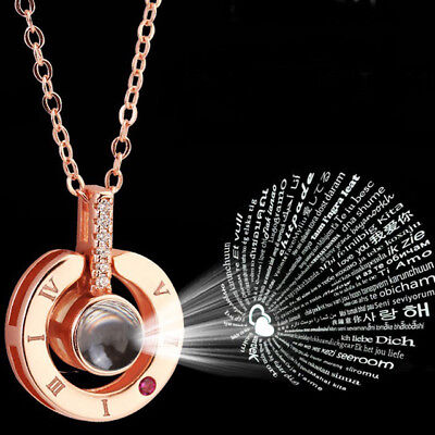 Projection 100 Languages I Love You Charm Pendant Necklace Valentine's Day Gift