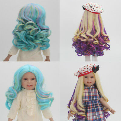 2 Pieces Gradient Wavy Curly Hair Wig for 18inch American Doll DIY Making