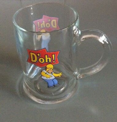 THE SIMPSONS Homer Stein Glass Glassware TM 2004 LIKE NEW