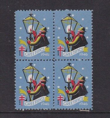 United States 1946 Christmas Greetings Stamps Block of 4 Mint Never Hung VGC