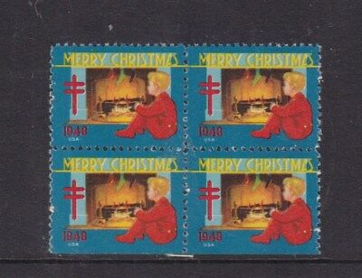 United States 1948 Christmas Greetings Stamps Block of 4 Mint Never Hung VGC