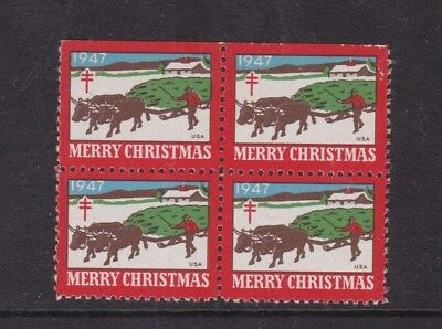 United States 1947 Christmas Greetings Stamps Block of 4 Mint Never Hung VGC