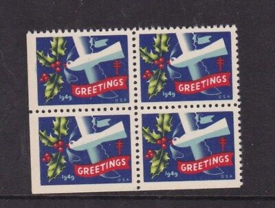 United States 1949 Christmas Greetings Stamps Block of 4 Mint Never Hung VGC