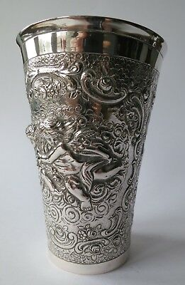 ANTIK SILBERBECHER BECHER SILBER 800er  PUTTEN ENGEL WINE CUP SILVER ANTIQUE