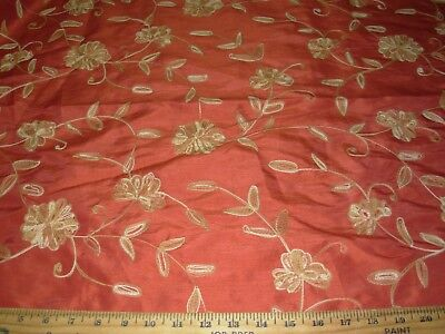 Bty Faux Silk Flowers Crewel Embroidered Drapery Upholstery Fabric For Less
