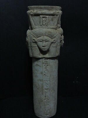 Rare Ancient Egyptian Antiques (Hathor) stand Egypt Hand Carved Stone