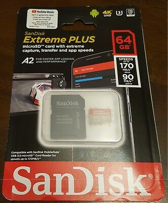 NEW - SanDisk Extreme Plus 64GB microSDXC Memory Card w/ Adapter A2 UHS-I