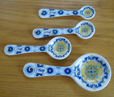 Flowered  Blue White Yellow Ceramic Measuring Spoons  each spoon marked