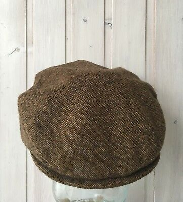 Vintage Donegal Wool Tweed John Malloy Brown Flat Cap Made In Ireland Size S