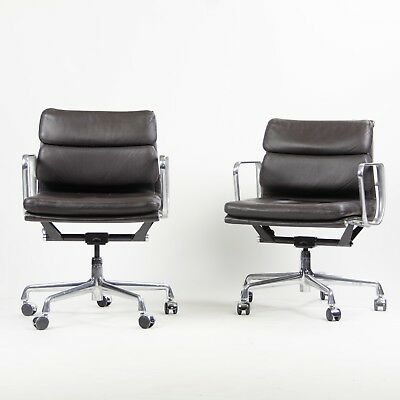 Eames Herman Miller Soft Pad Low Aluminum Group Chair Brown Leather 2000's 7x