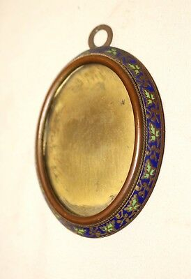 antique ornate 1800's French enameled gilt bronze miniature oval picture frame .
