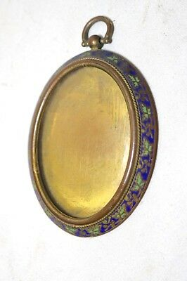 antique ornate 1800's French enameled gilt bronze miniature oval picture frame