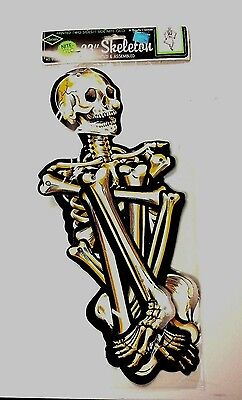 "Beistle Nite Glo 33"" Skeleton Halloween Glows in dark Jointed RETIRED 1970 NOS"
