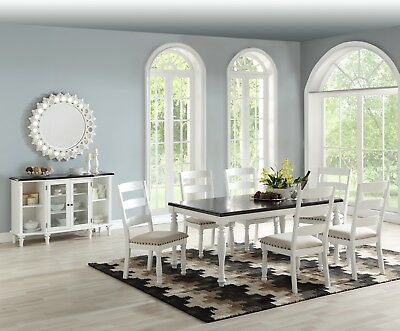 Contemporary White 7pc Dining Set Rectangular Table Chair Room Furniture