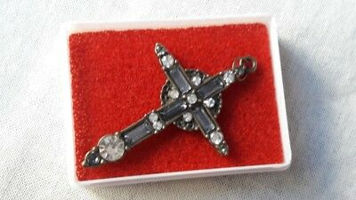 Antique Metal Cross Pendant Rare Glass Stones