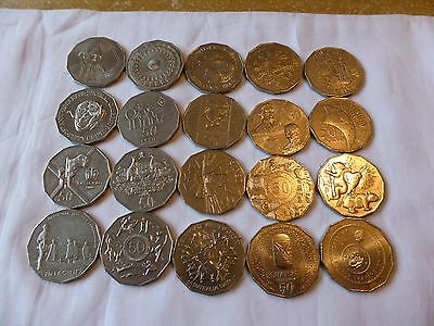 Aust 50 cent commemorative coin collection 1970 to 2017 circ coins set reg post