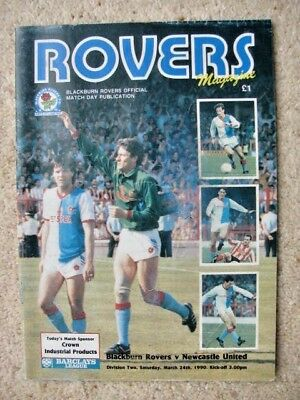 BLACKBURN ROVERS v NEWCASTLE UNITED 1989-90 LEAGUE DIVISION TWO PROGRAMME