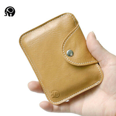 Women Men Genuine Leather Small Coin Credit Card Holder Wallet Pouch Mini Purse