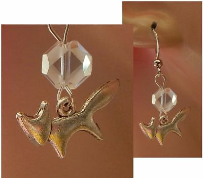 Fox Earrings Silver Charm Drop/Dangle Handmade Jewelry Hook Fashion NEW