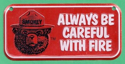 US USFS Forest Service NEW Smokey Bear Red Bicycle Bike License Plate Metal Sign