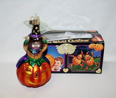 Old World Christmas (OWC) Witch on Pumpkin Halloween Ornament