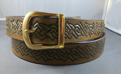 """1 1/4"""" Antiqued Leather Belt Fits Waists 37"""" to 41"""", Hand-Embossed Celtic Knots"""