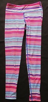 90 DEGREES by REFLEX Girl's Striped Athletic Leggings Size M (10)