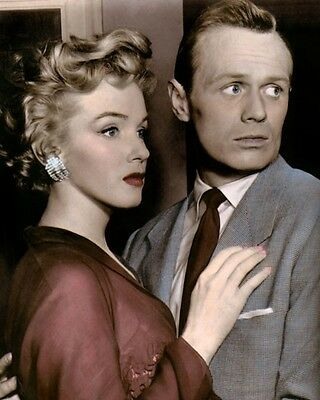 "RICHARD WIDMARK MARILYN MONROE 1952  (2) HOLLYWOOD 8x10"" HAND COLOR TINTED PHOTO"