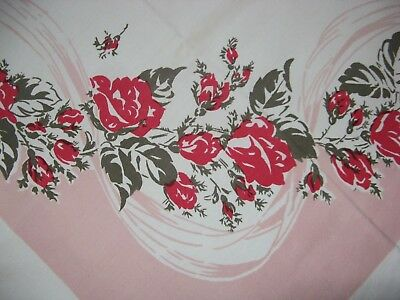 VINTAGE Cotton Printed TABLECLOTH Pink & Gray  55x46