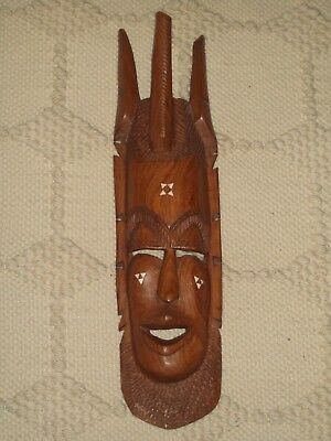 """""""Vintage"""" ~ Hand Carved ~ """"Inlayed"""" ~ Wooden Tribal Mask ~ Rare ~(Three Horned)"""