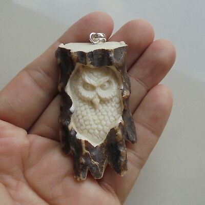 Owl Pendant, Owl Carving From Deer Antler Carving with Silver Bail 071519
