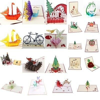 3D Pop Up Greeting Card Birthday Party Anniversary Wedding Decor Blessing Cards